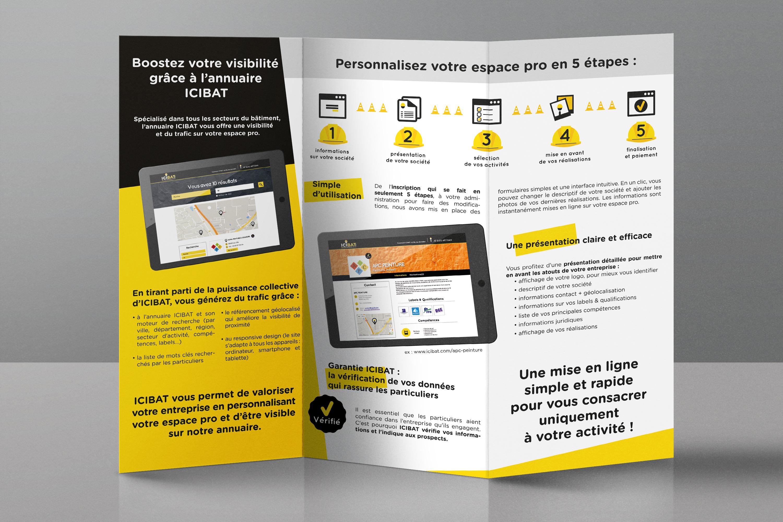 plateforme ICIBAT - leaflet dépliant logotype et communication - WALA STUDIO
