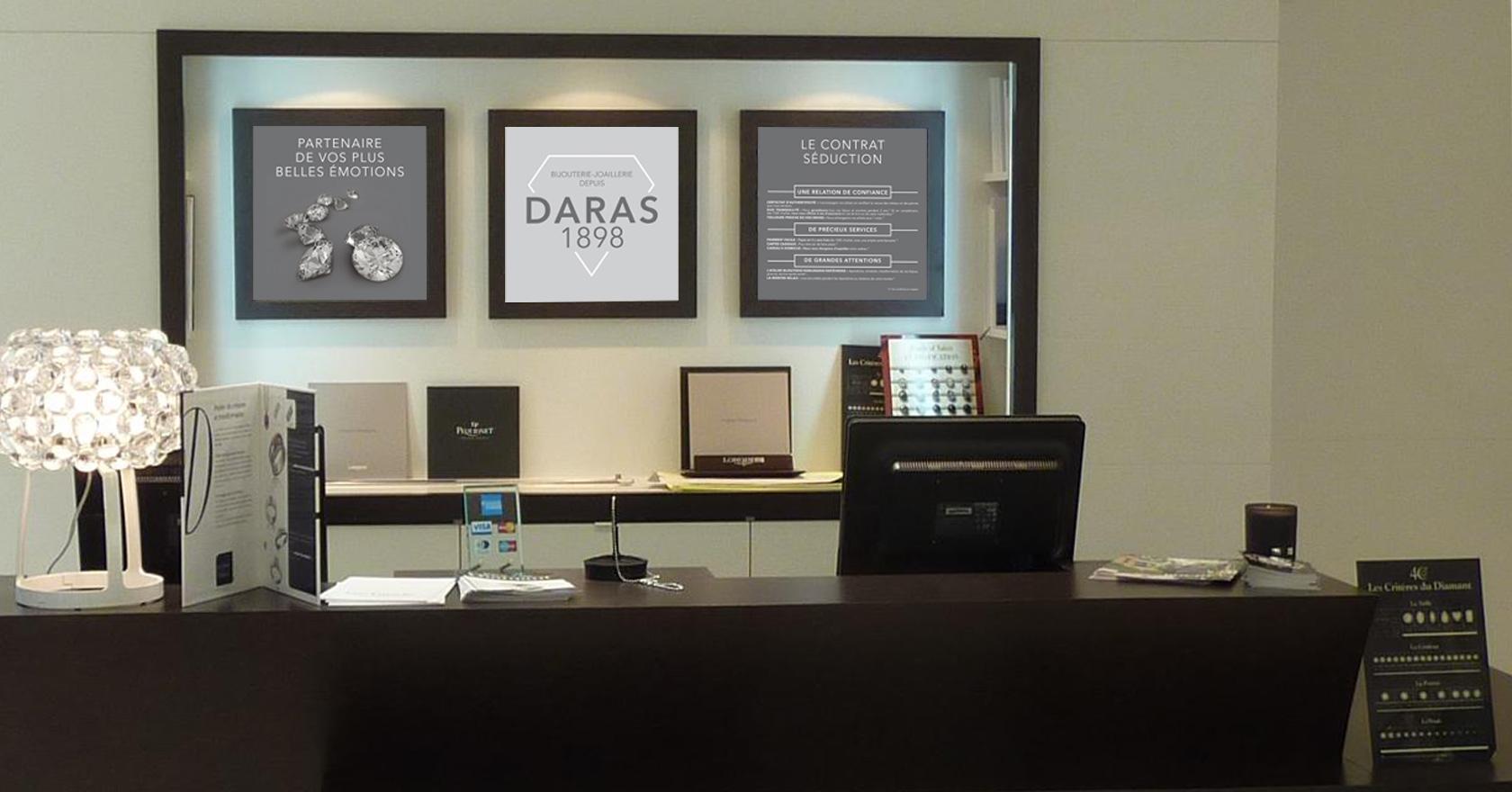 Identité Visuelle de DARAS - bijouterie-joaillerie - PLV