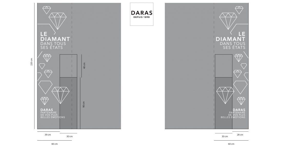 Identité Visuelle de DARAS - bijouterie-joaillerie - vitrophanie