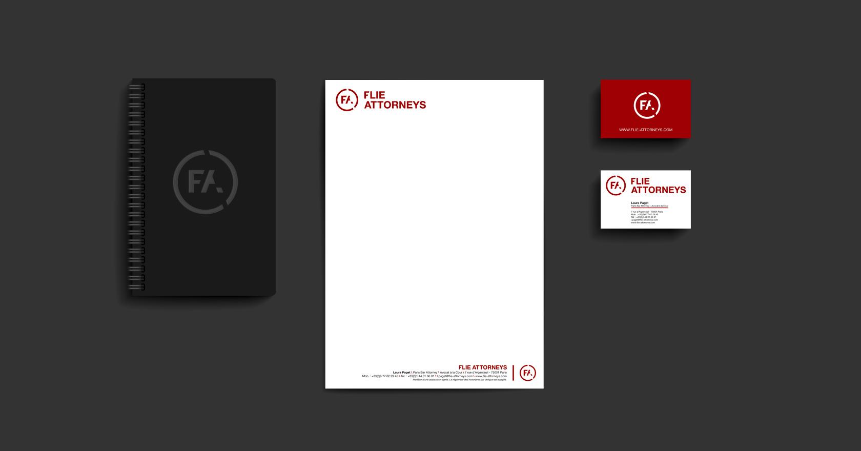 FLIE ATTORNEYS - création logotype et suite de correspondance - création Wala studio