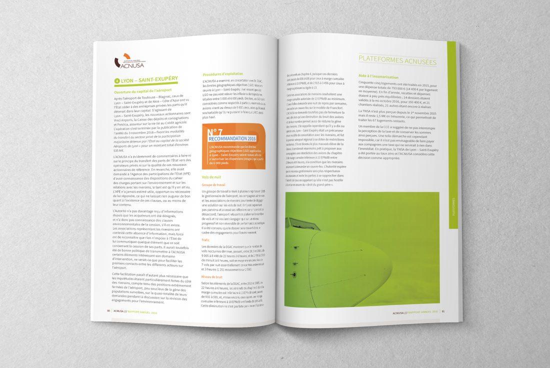 Rapport annuel ACNUSA 2016 - mise en page - Création WALA studio graphique