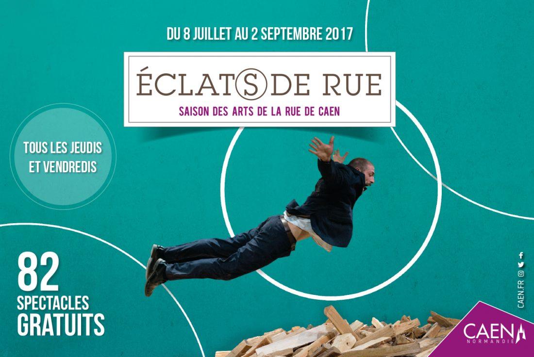 La Mairie de Caen nous a confié l'affichage, programme, déclinaison de la 3ème édition d'Eclat(s) de rue (8 juillet au 2 septembre 2017) Normandie - Création WALA studio graphique