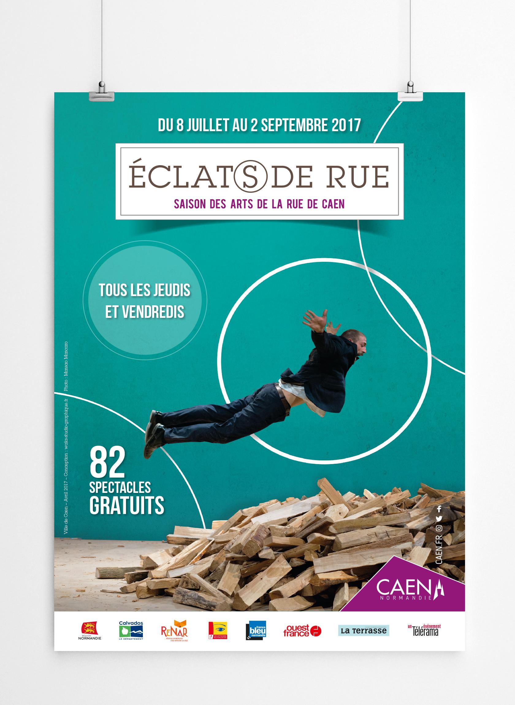 WALA studio graphique a créé l'affiche de la 3ème édition d'Eclat(s) de rue - 2017 - CAEN - NORMANDIE