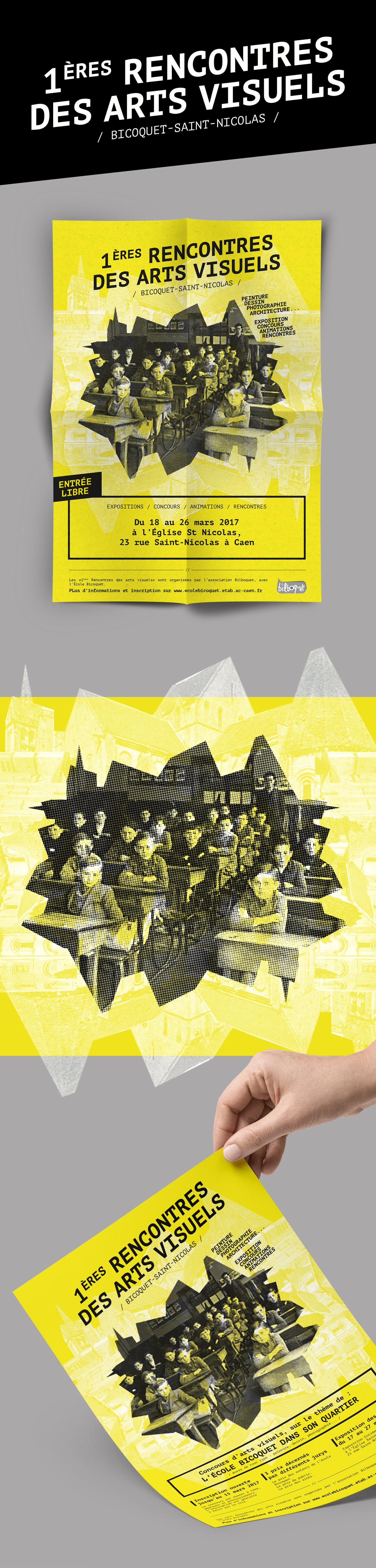 affiche de l'exposition des 1ere Rencontres des Arts Visuels à Caen NORMANDIE - création WALA studio graphique