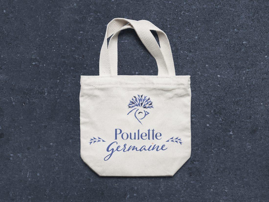 Tote bag Poulette Germaine -identité de marque -création WALA studio - freelance Normandie