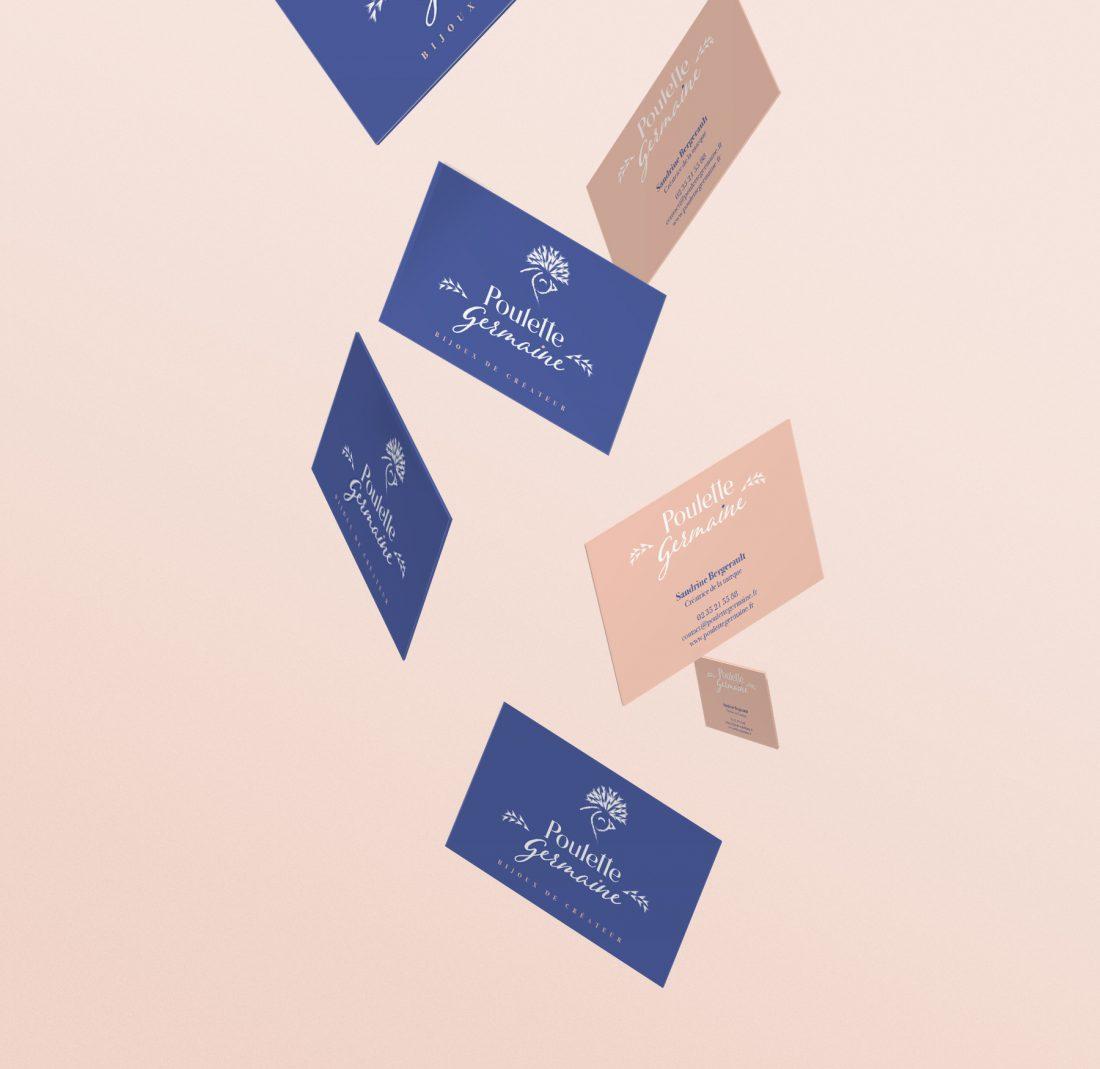Carte de visite Poulette Germaine -identité de marque -création WALA studio - freelance Normandie