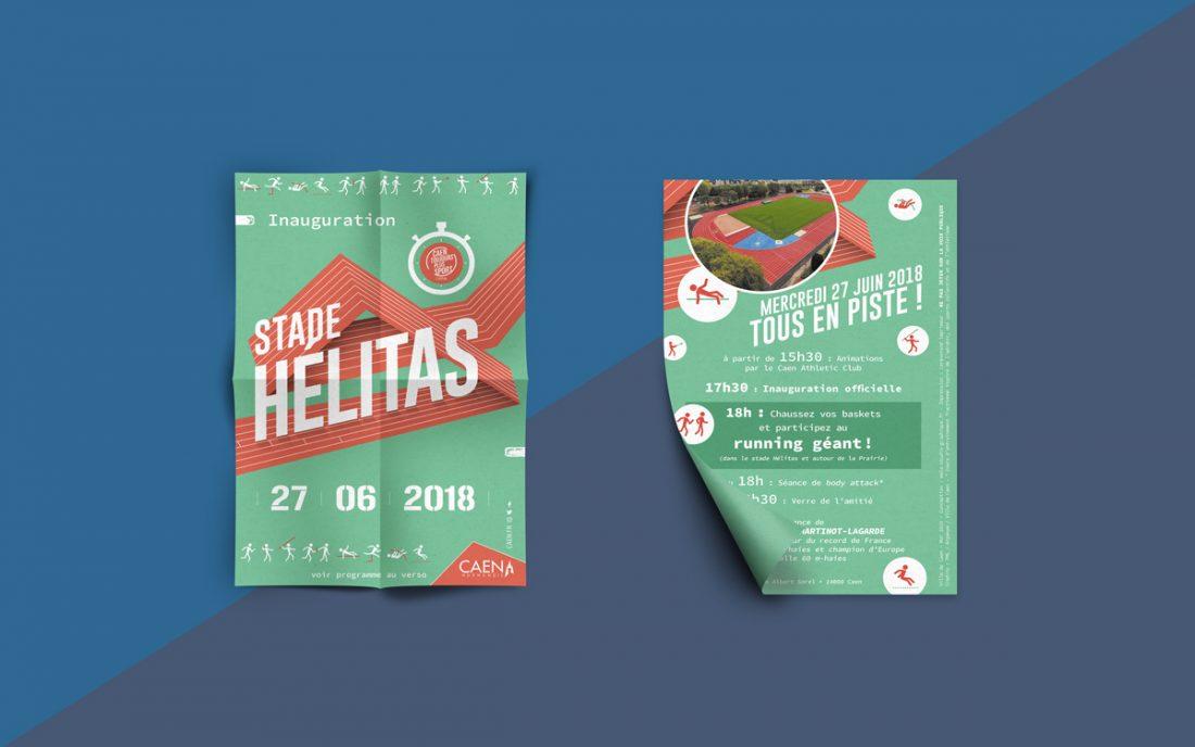 flyer inauguration stade Hélitas 27 juin 2018 - évènement - création WALA STUDIO GRAPHIQUE