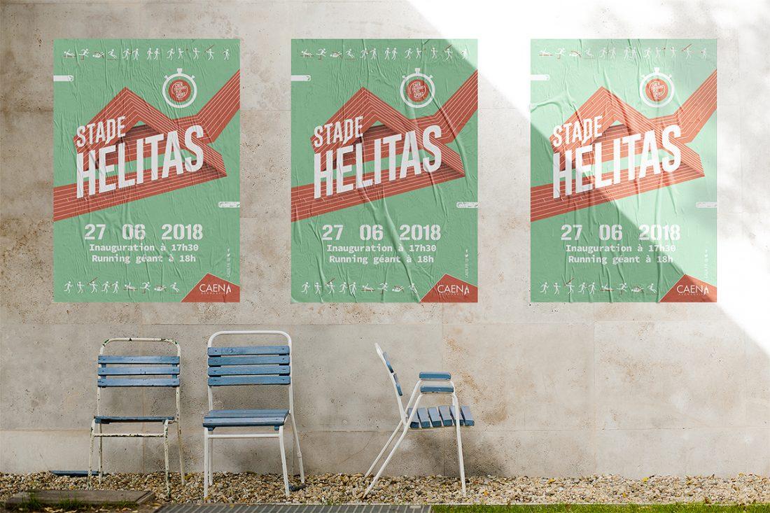 inauguration stade Hélitas - CAEN NORMANDIE - création WALA studio graphique